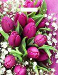 Купить оптом полиэтиленовый пакет Розовые тюльпаны с прорубной (вырубной) ручкой от Тико