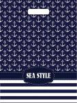 Купить оптом полиэтиленовый пакет Морской стиль с прорубной укрепленной ручкой